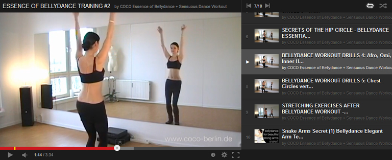 Beginner bellydance class: sliding forward, horizontal circles with the hip and the chest